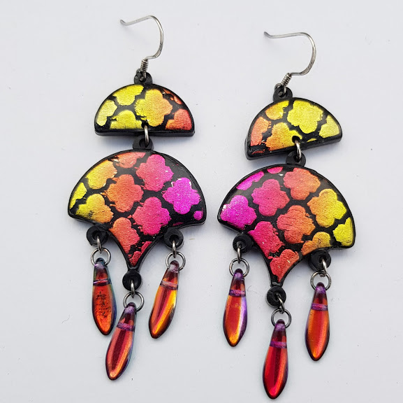 Sunset Quatrefoil Chandelier Earrings