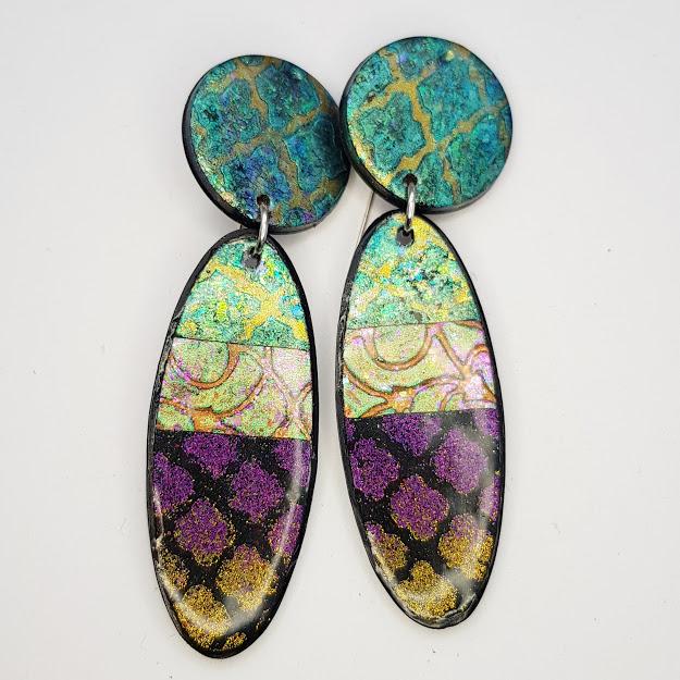 Teal Quatrefoil Oval Drop Earrings