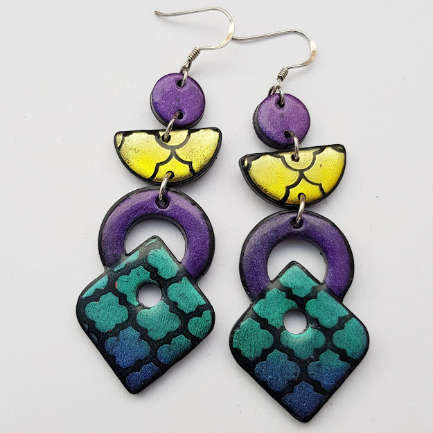 Deep Dusk Geometric Statement Earrings