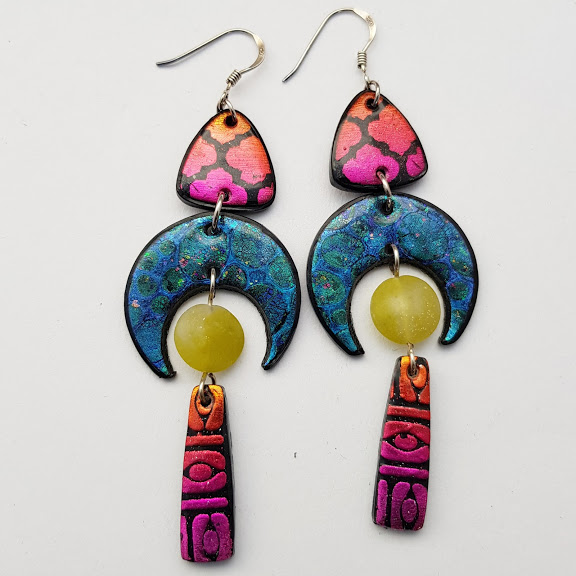Crescent at Sundown Multi-Drop Earrings