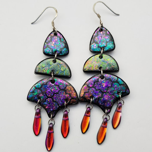 Oil on Water Quatrefoil Chandelier Earrings