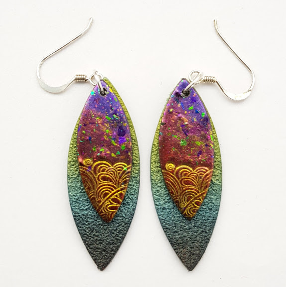 Purple-Gold Paisley on Aqua-Maxi Drop Earrings