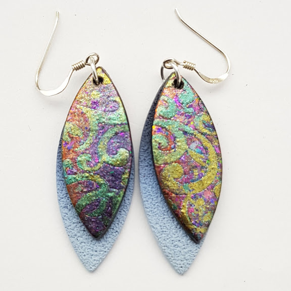 Fire Iridium-Gold Baroque on Cobalt-Maxi Drop Earrings