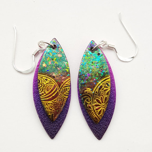 Petrol Shift Paisley on Violet-Midi Drop Earrings