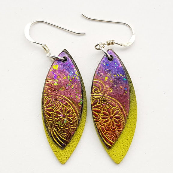 Wine Red-Purple Paisley on Chartreuse-Midi Drop Earrings