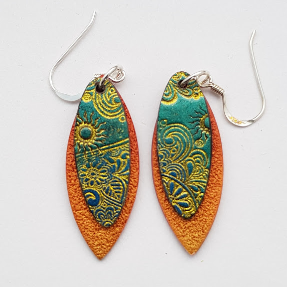 Teal Shift-Gold Paisley on Cinnamon-Midi Drop Earrings