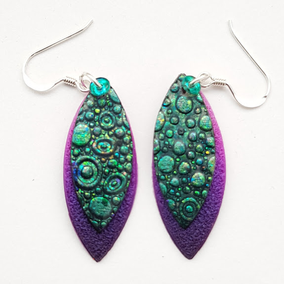 Teal Shift Bubble on Violet-Midi Drop Earrings