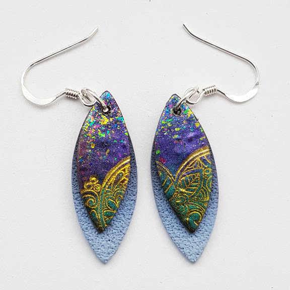 Purple-Gold Paisley on Cobalt-Mini Drop Earrings