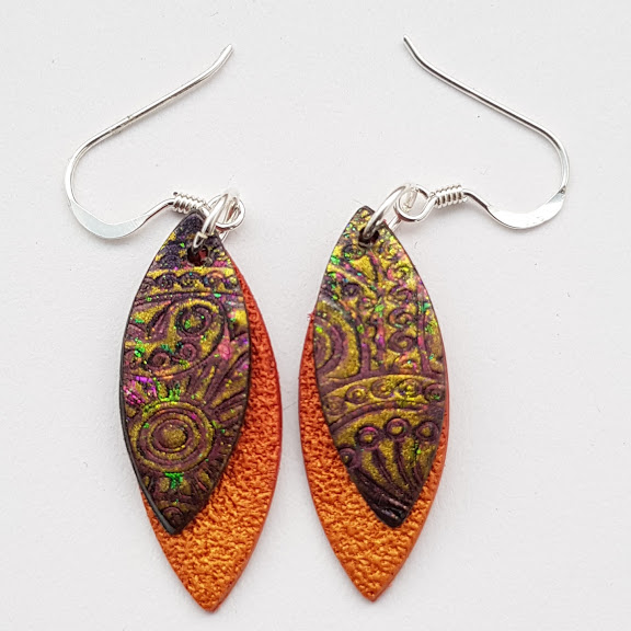 Aztec Gold on Cinnamon-Mini Drop Earrings