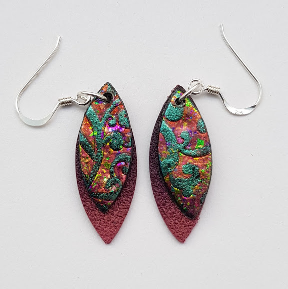 Fire Iridium Baroque on Mulberry-Mini Drop Earrings