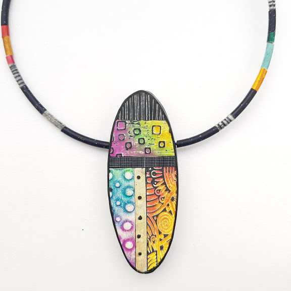 Home Run-Oval Abstraction Art Pendant