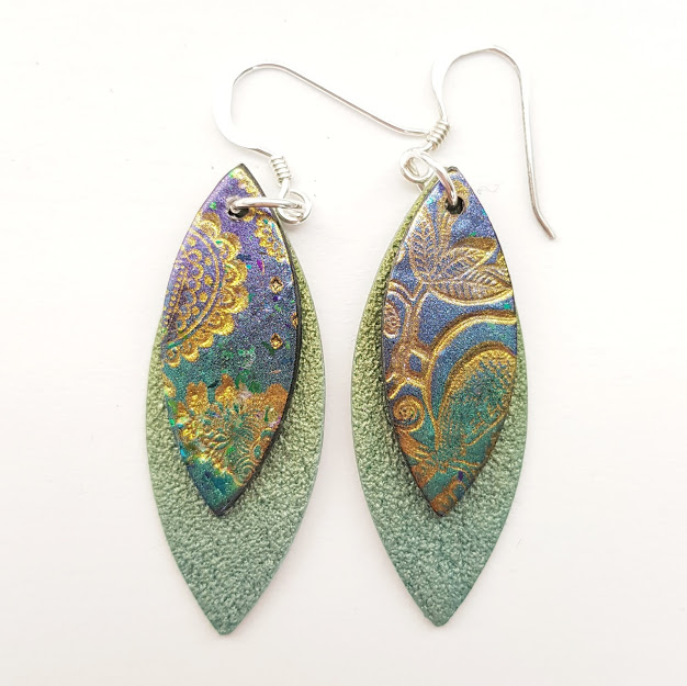 Blue-Green Paisley on Sea-tones-Maxi Drop Earrings