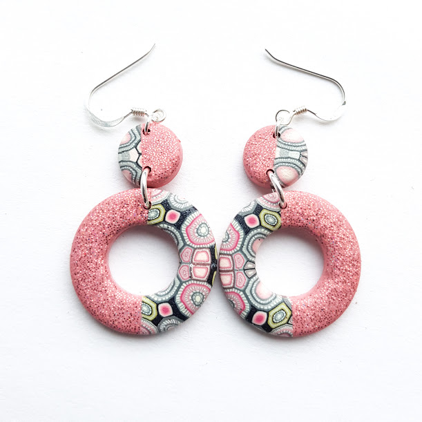 Holographic Pink Sparkle Disc Dangle Earrings