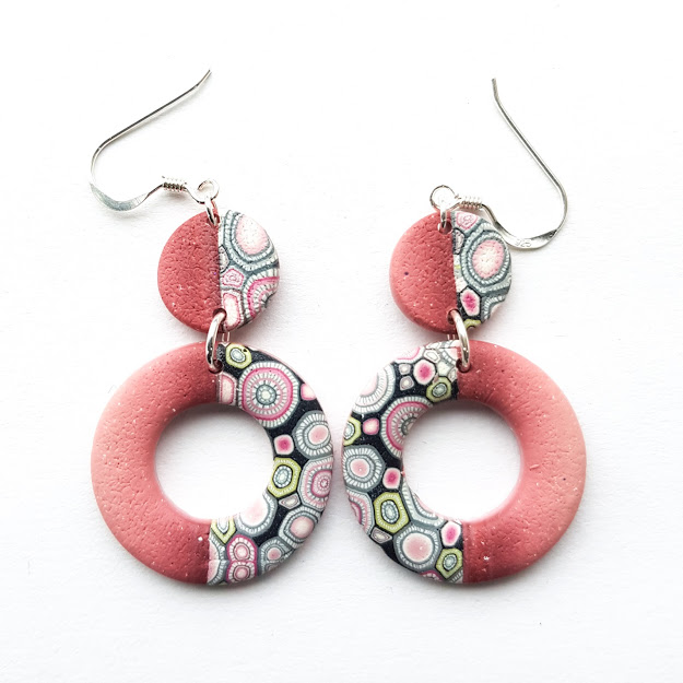 Deep Rose Circle & Disc Double Dangle Earrings