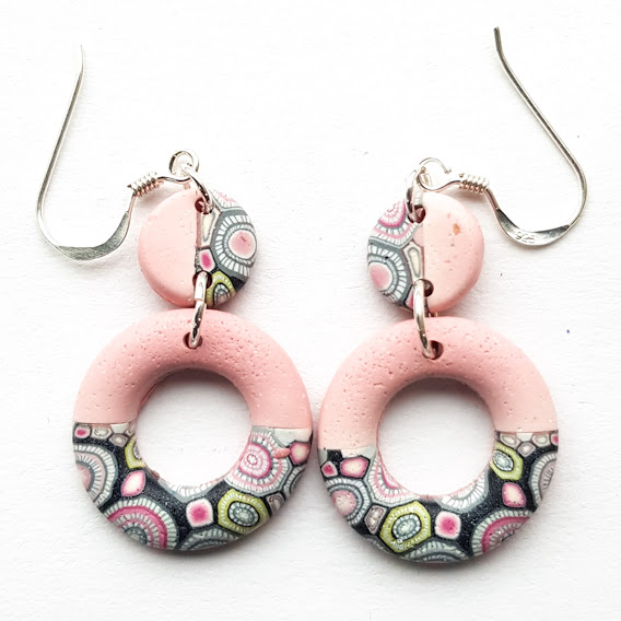 Pastel Rose Small Circle & Disc Double Dangle Earrings