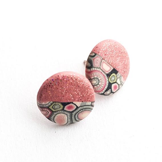 Sparkle Rosa Midi Disc Stud Earrings