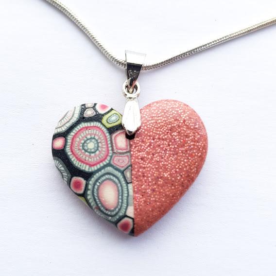 Pink Sparkle Rosa Heart Pendant