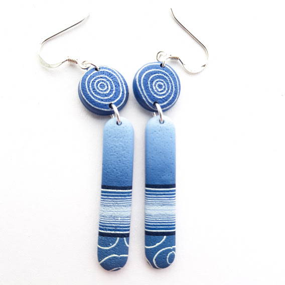 Dark Denim Double Dangle Long Lozenge Earrings