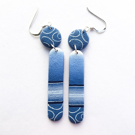 Dark Denim Disc & Long Lozenge Earrings