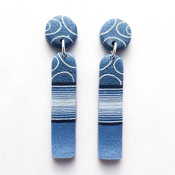 Dark Denim Long Arch Stud Dangle Earrings