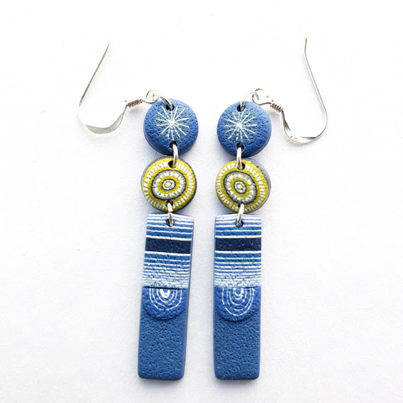 Dark Denim With Lime Pop Triple Dangle Earrings