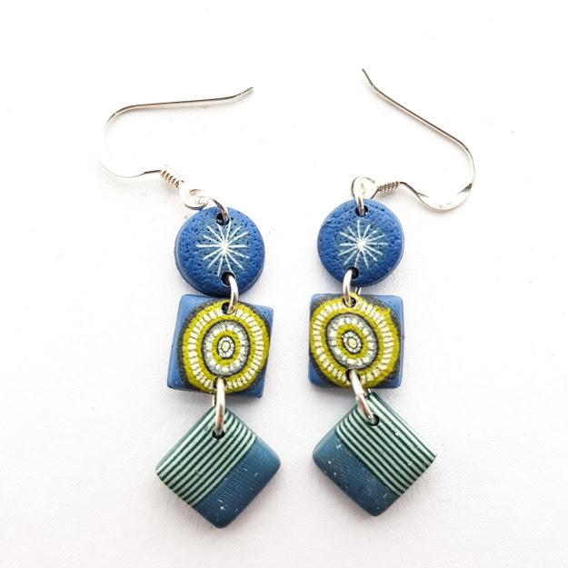 Star Lime Stripe Triple Drop Earrings