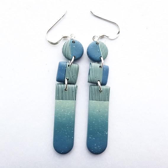 Faded Denim & Pin Stripes Triple Drop Earrings