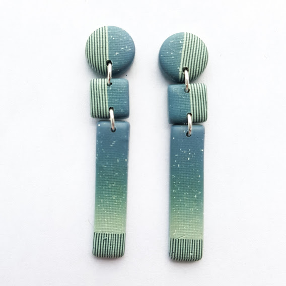 Faded Denim & Pin Stripes Triple Stud Dangle Earrings