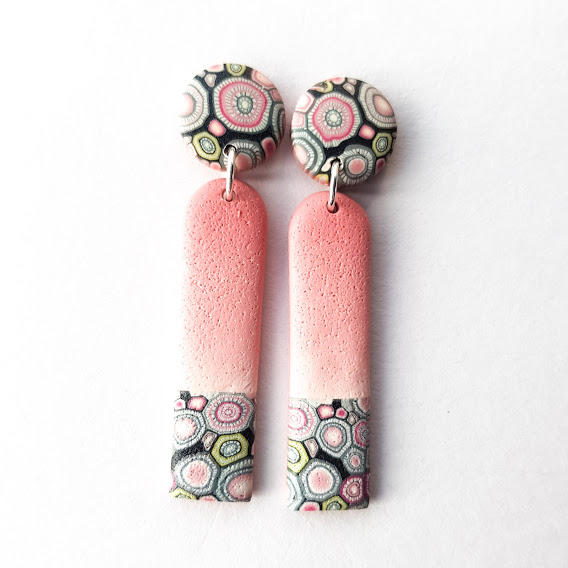 Pale Rosa Long Arches Stud Dangle Earrings