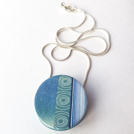 Reversible Anti-Clastic Double Denim Disc Pendant