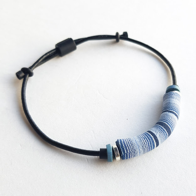 Dark Denim Nautical Stripe Bracelet