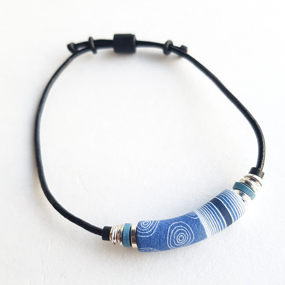 Dark Denim Circles & Stripes Bracelet