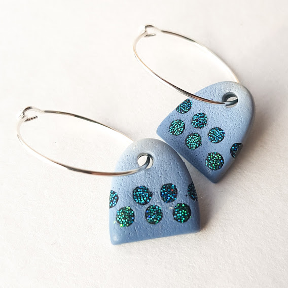 New Denim Aqua Spot Arch Hoop Earrings-Small