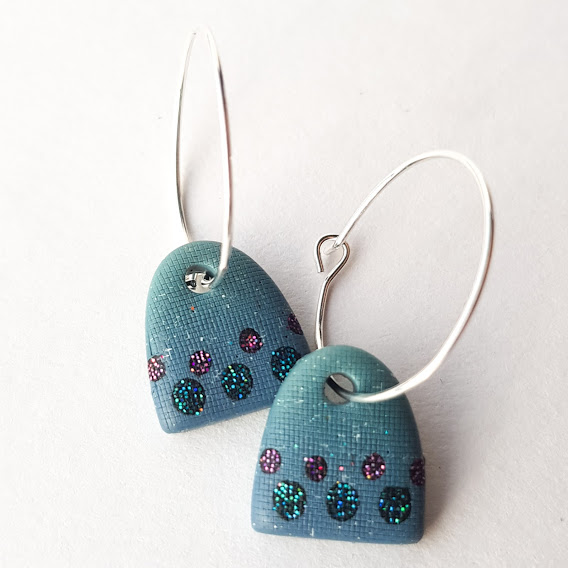 Old Denim Aqua Purple Spot Arch Hoop Earrings-Small