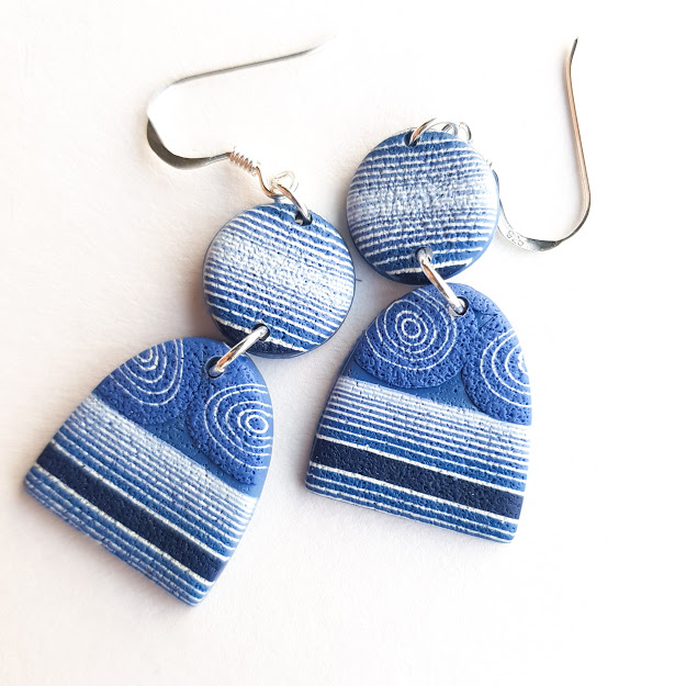 Dark Denim Striped Disc & Arch Dangle Earrings