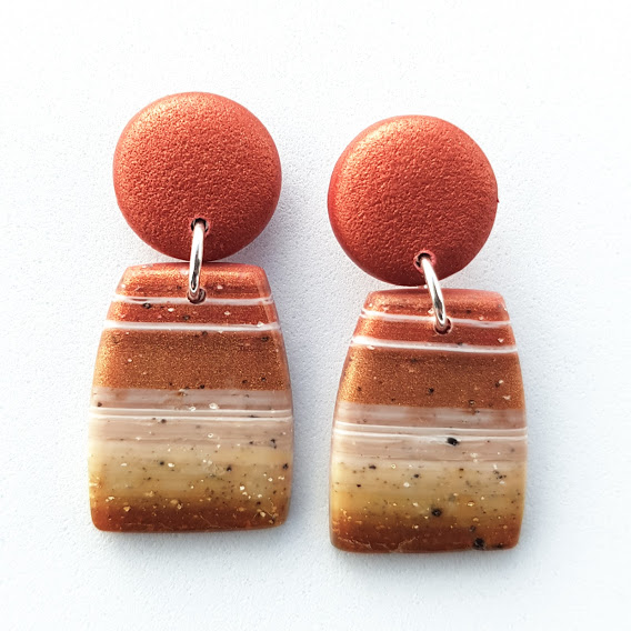 Faux Striped Carnelian Lozenge Stud Drops