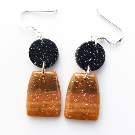 Faux Granite & Agate Double Drop Dangle Earrings