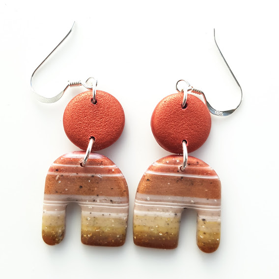 Faux Striped Carnelian 'Elephant' Arch Double Dangles