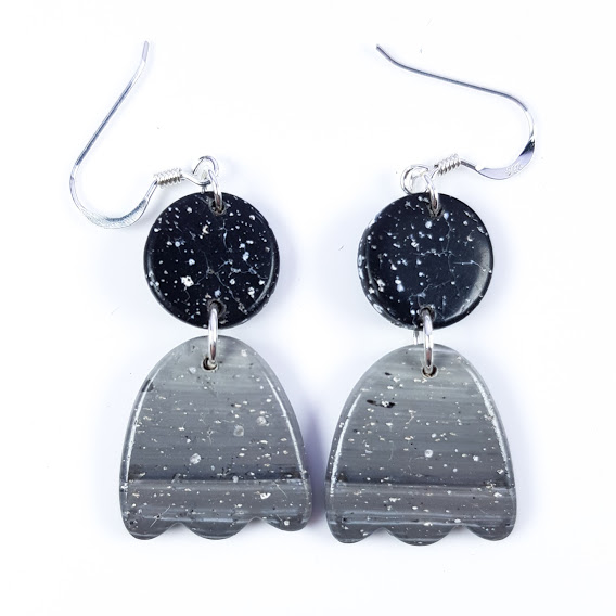 Faux Granite Polished Inverted Tulip Dangle Earrings