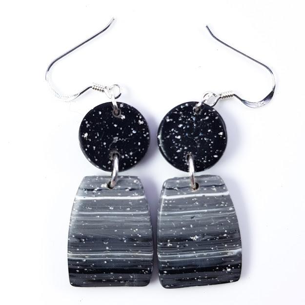 Faux Granite Polished Geometric Dangle Earrings