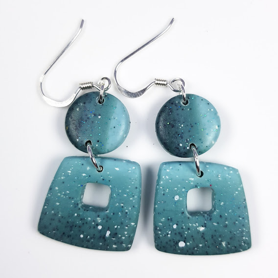 Faux Larimar Square Frame Double Dangle Earrings