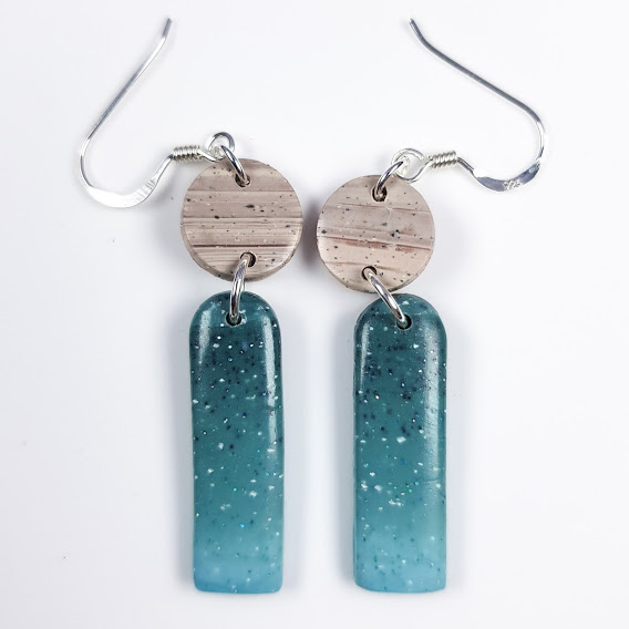 Faux Larimar & Marble Super Slim Arched Dangles